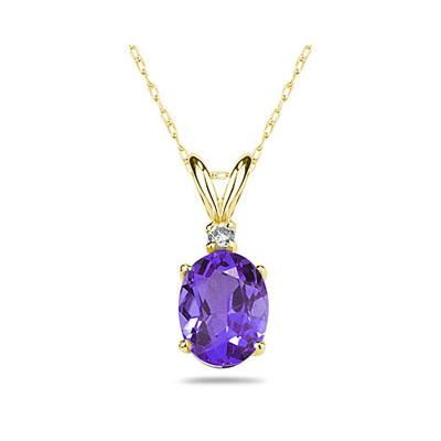 7X5mm Oval Tanzanite and Diamond Stud Pendant in 14K Yellow Gold