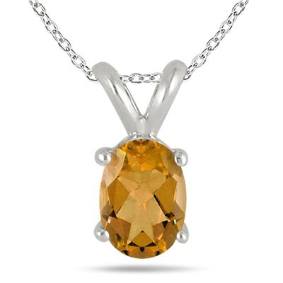 All-Natural Genuine 6x4 mm, Oval Citrine pendant set in 14k White Gold