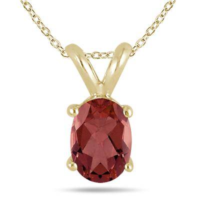 All-Natural Genuine 6x4 mm, Oval Garnet pendant set in 14k Yellow gold
