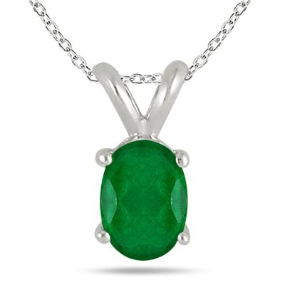 All-Natural Genuine 7x5 mm, Oval Emerald pendant set in 14k White Gold