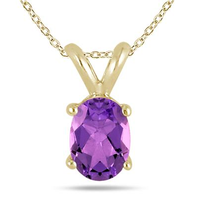 All-Natural Genuine 8x6 mm, Oval Amethyst pendant set in 14k Yellow gold