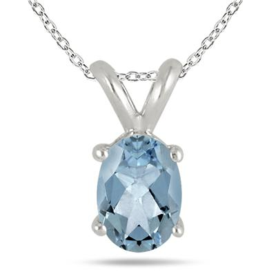 All-Natural Genuine 8x6 mm, Oval Aquamarine pendant set in 14k White Gold