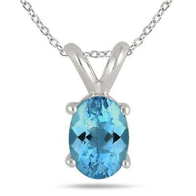 All-Natural Genuine 8x6 mm, Oval Blue Topaz pendant set in 14k White Gold