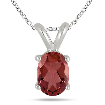 All-Natural Genuine 8x6 mm, Oval Garnet pendant set in 14k White Gold