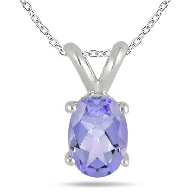 All-Natural Genuine 8x6 mm, Oval Tanzanite pendant set in 14k White Gold