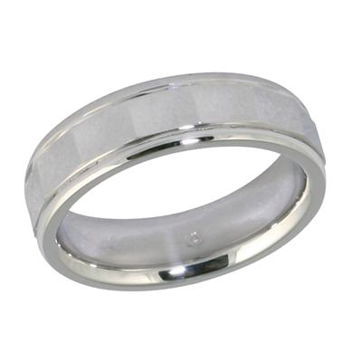 14K White Gold Diamond Cut Wedding Band