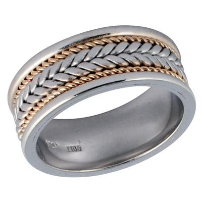 14K White & Yellow Gold Rope Weave Wedding Ring