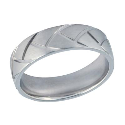14K White Gold Trendy Wedding Ring