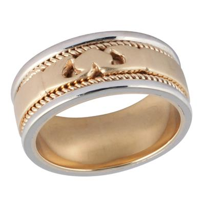 14K White & Yellow Gold Rope Heart Wedding Ring