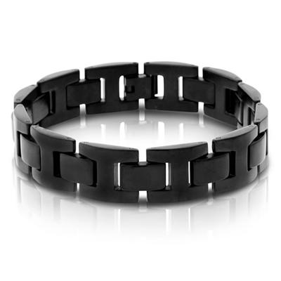 Mens Stainless Steel Black Ion Plated Link Bracelet