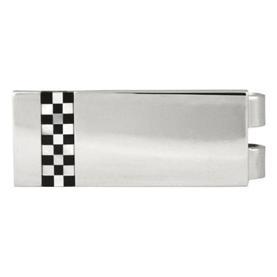 Onyx & Mop check Stainless Steel Money Clip
