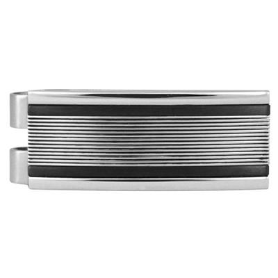 Dia-Cut Lines with Black edges Stainless Steel Money Clip