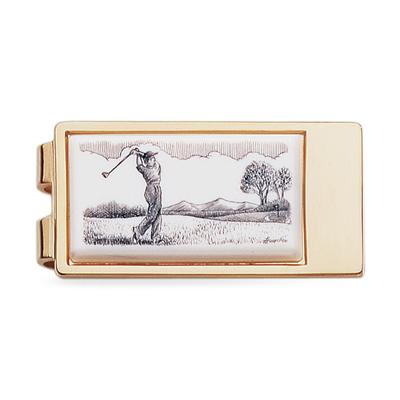 Golf Sketch Gold Money Clip