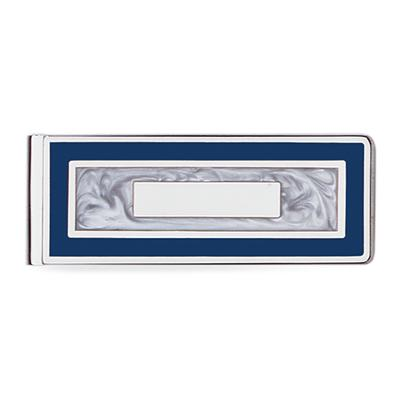 Blue Enamel Framed Mother of Pearl Hinged Money Clip 23K Electro Plated