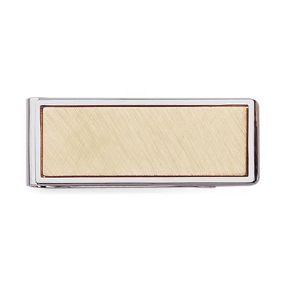 Rhodium Money Clip with Gold Polish Insert