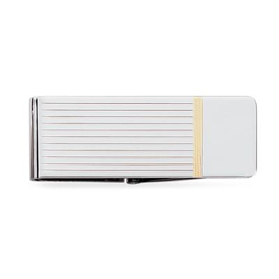 Sterling Silver Hinged Money Clip with Gold Polish Accent