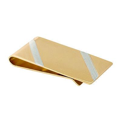 Gold with Silver Strip Money Clip