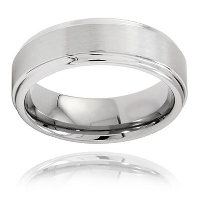 Brushed and Polished Ridged Edge Tungsten Carbide Ring (7.0mm)