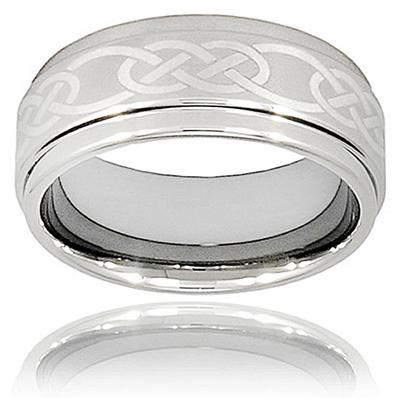 Ridged Edge Polished Tungsten Carbide Ring with Celtic Knot Laser Design (9.0mm)