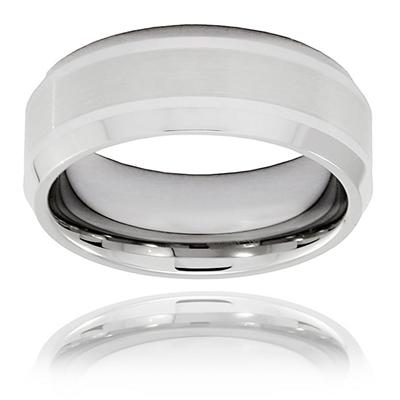 Brushed and Polished Beveled Edge Tungsten Carbide Ring (8.0mm)