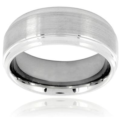 Ridged Edge Brushed and Polished Tungsten Carbide Ring (9.0mm)