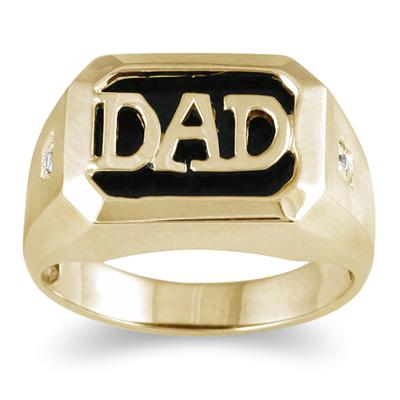 Onyx & Diamond DAD Ring Yellow Gold