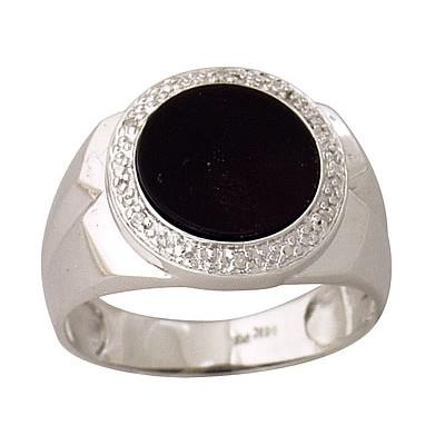 Mens Onyx Diamond Ring 10kt White Gold