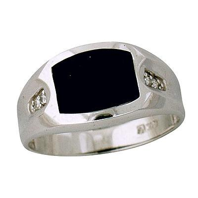 10-kt White Gold Diamond and Onyx Mens Ring
