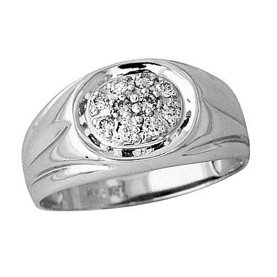 Mens Diamond Ring in 14kt White Gold