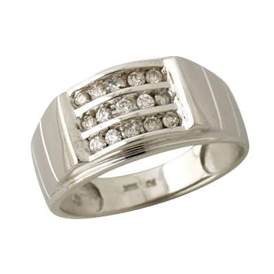 Diamond Mens Ring in White Gold