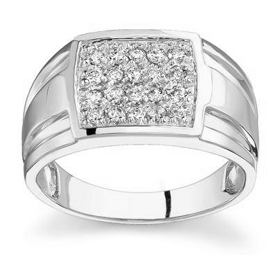 10kt White Gold Diamond Men