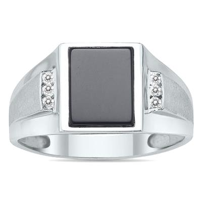 10Kt White Gold Onyx and Diamond Men
