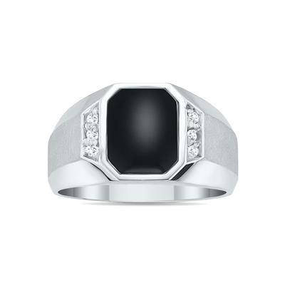 10K White Gold Onyx and Diamond Men