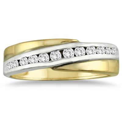 14k Two-tone Diamond Channel Men