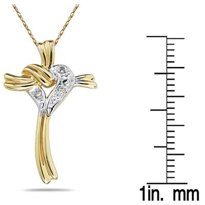 Heart & Cross Diamond Pendant in 10k Yellow Gold