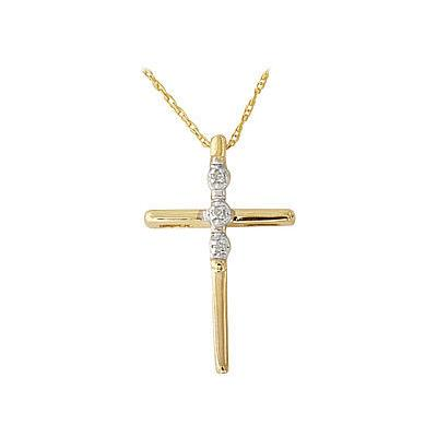 3 Stone Diamond Cross Pendant 10k Yellow Gold