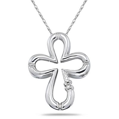 Diamond Cross Pendant in 10kt White Gold