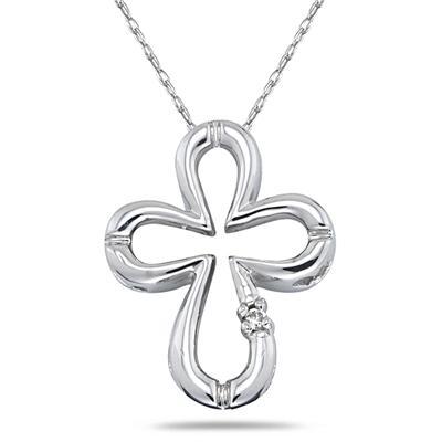 Diamond Cross Pendant in 10kt White Gold