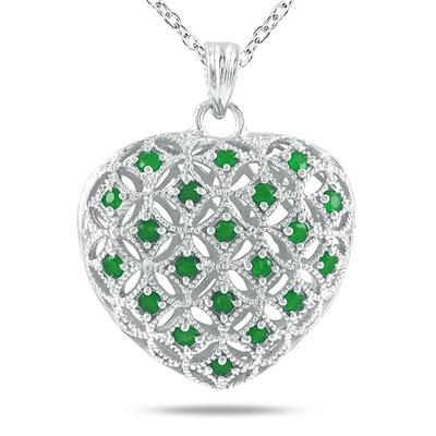 1.00 Carat Emerald Heart Puff Pendant in .925 Sterling Silver