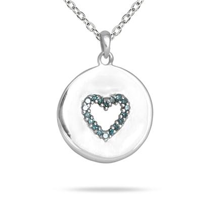 Blue Diamond Heart Tag Pendant in 10K White Gold