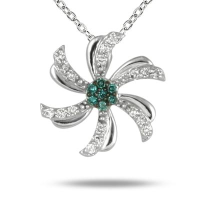 Blue and White Diamond Flower Pendant in 10K White Gold