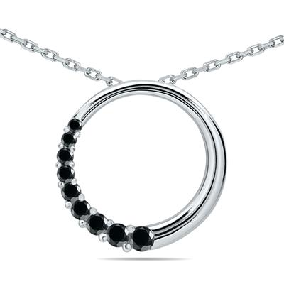 1/4 CTW Black Diamond Circle Journey Pendant in 10K White Gold