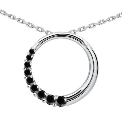 1/2 CTW Black Diamond Circle Journey Pendant in 10K White Gold