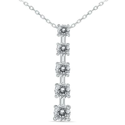 3/4 Carat Diamond Journey Pendant in 14K White Gold