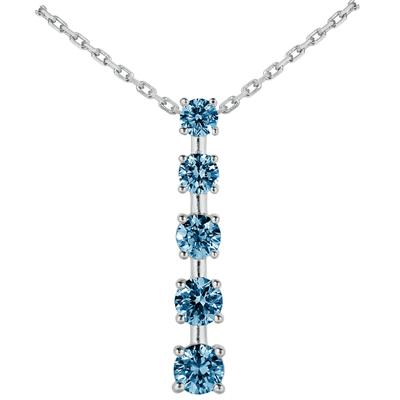 1/2 CTW Blue Diamond Journey Pendant in 10K White Gold