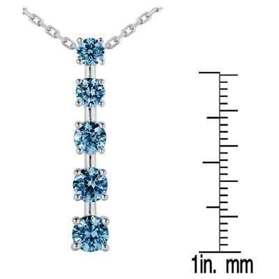 1 1/2 CTW Blue Diamond Journey Pendant in 14K White Gold
