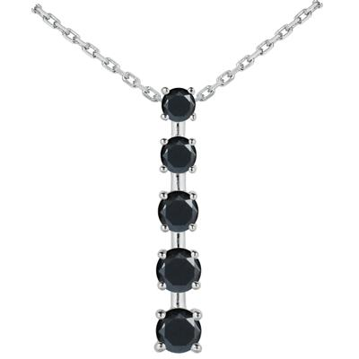 1/2 CTW Black Diamond Journey Pendant in 14K White Gold