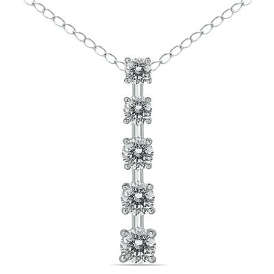 1/2 Carat TW Diamond Journey Pendant in 14K White Gold