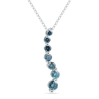 1/2 CTW Blue Diamond S Journey Pendant in 14K White Gold