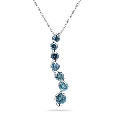 2.00 Carat Blue Diamond S Journey Pendant 14K White Gold